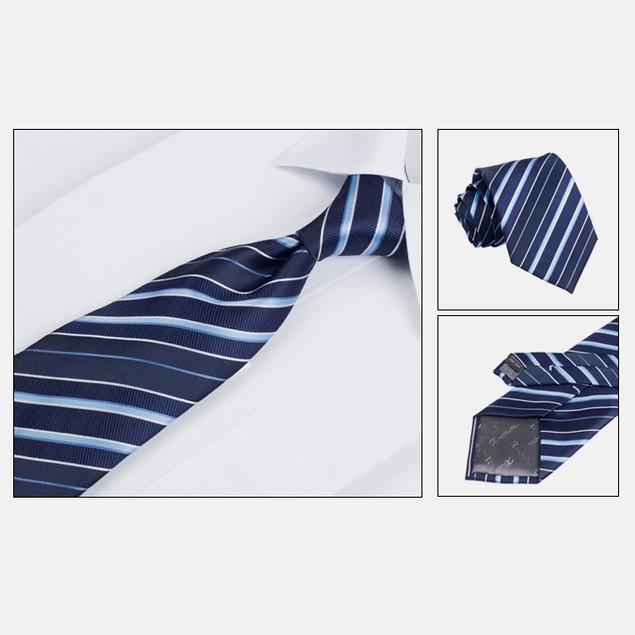 Mens Dress Suit Tie Set - Dark Blue Stripe