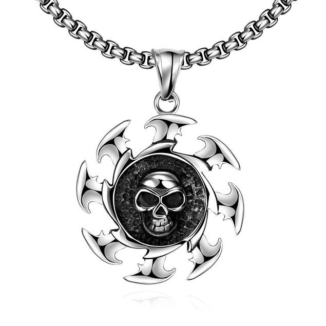 Alpha Steel Skull Blade Stainless Steel Necklace