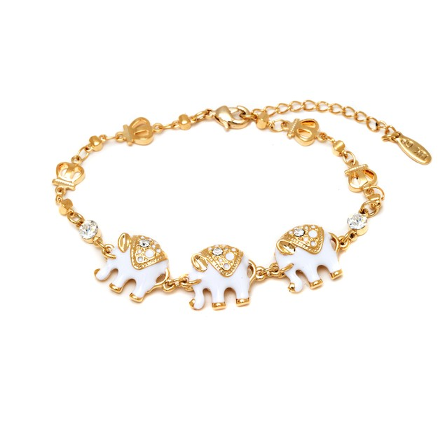 Gold and White Enamel Elephant Bracelet