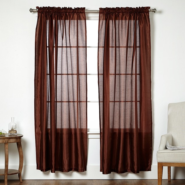 4-Pack: Faux Silk Curtain Panels with Rod Pockets