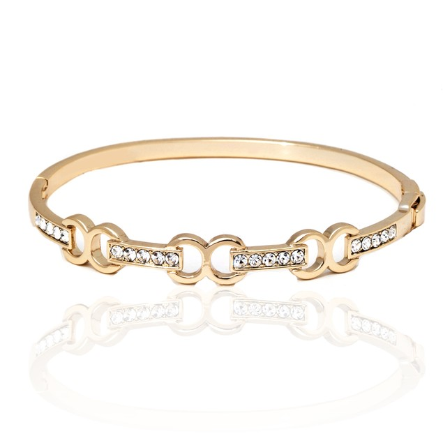 Gold and Sparkle Triple Infinity Baguette Bangle