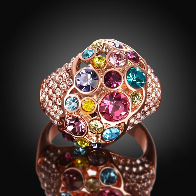 Rainbow Gem-Insert Rose Gold Plated Ring