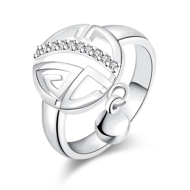 White Gold Plated Clock Wise Ring