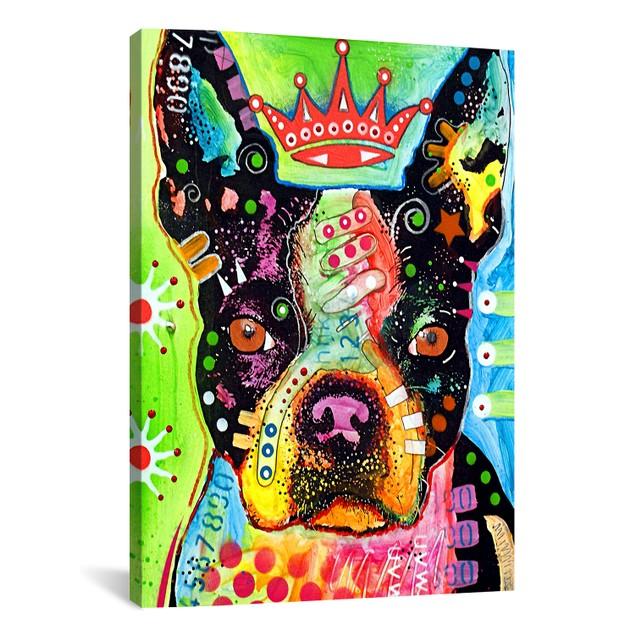 Boston Terrier Crowned Canvas Print
