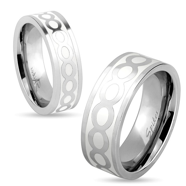 Shiny Infinite on White Center Stainless Steel Ring