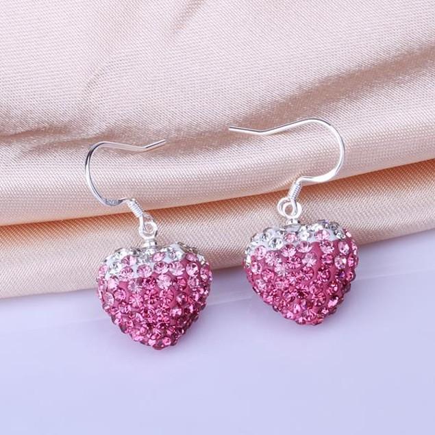 Heart Shaped Austrian Stone Drop Earrings -Dark Coral