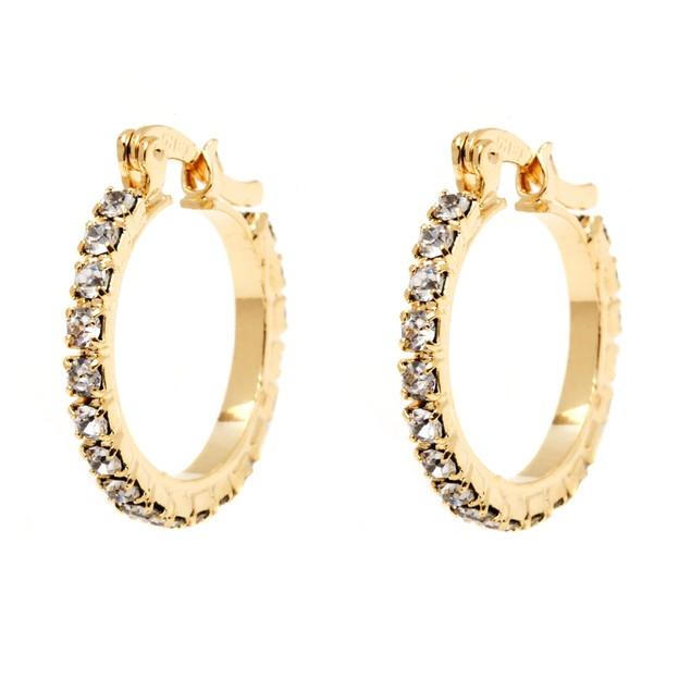 Gold and Crystal Hoop Earrings