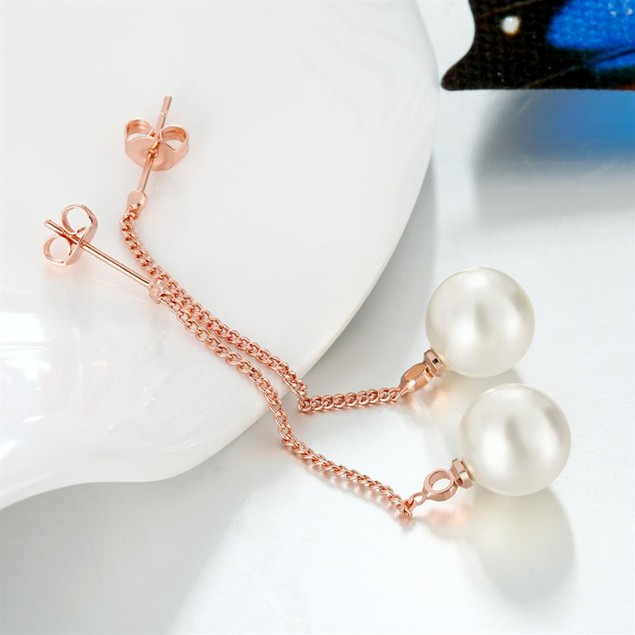 Gold Plated Imitation Pearl Drop Earrings