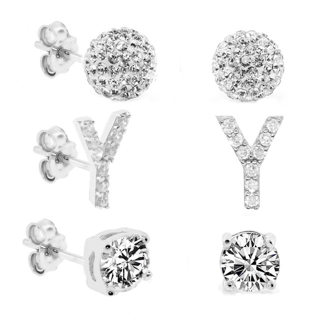3-Piece Set: Initial Stud Earrings with Swarovski Elements - Y