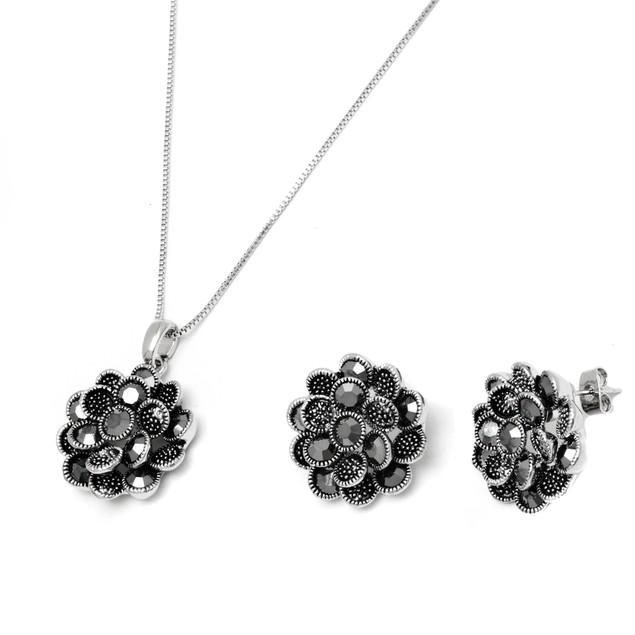 Silver & Marcasite Flower Earrings & Pendant Set
