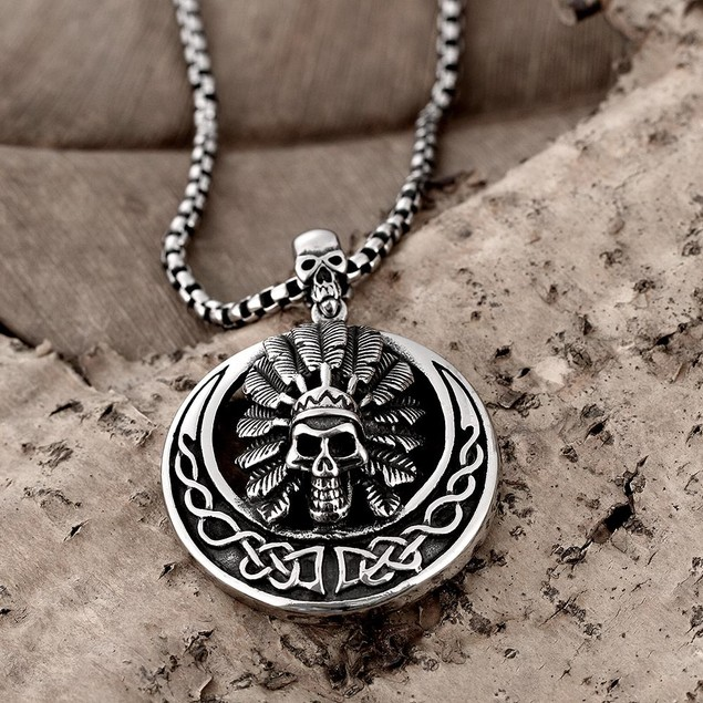 Alpha Steel Chief Circular Emblem Stainless Steel Necklace