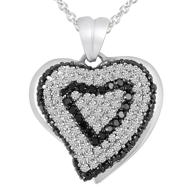 Sterling Silver Black/White Simulated Diamond Pave Heart Pendant