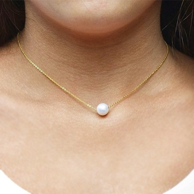 Genuine 9mm Pearl Solitaire Necklace