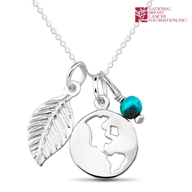 National Breast Cancer Foundation Inspirational Jewelry - Sterling Silver Map Pendant