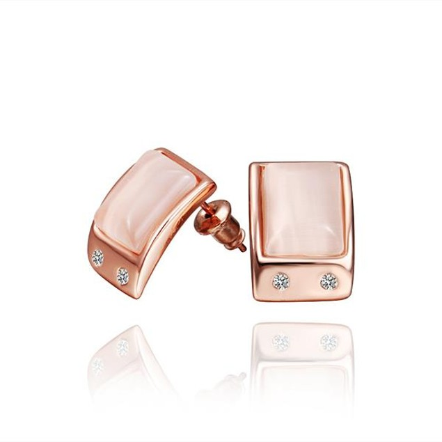Rose Gold Plated Ivory Center Stud Earrings Made with Austrian Crystal