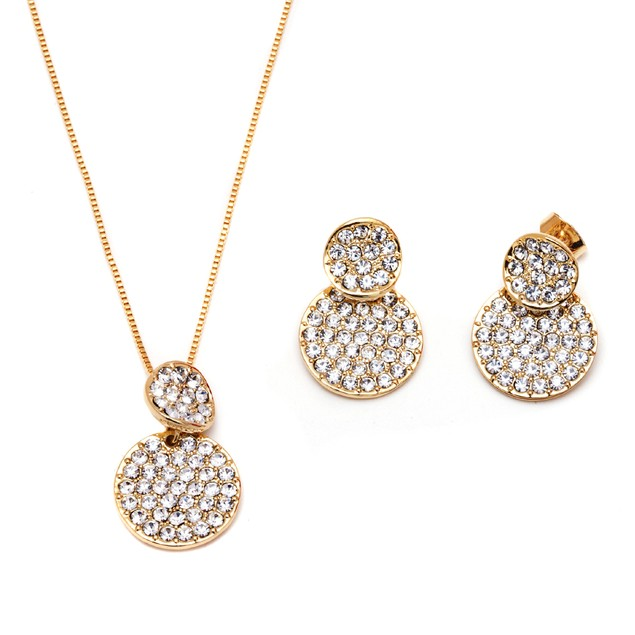 Gold & Crystal Round Earrings & Pendant Set Made with Swarovski Elements