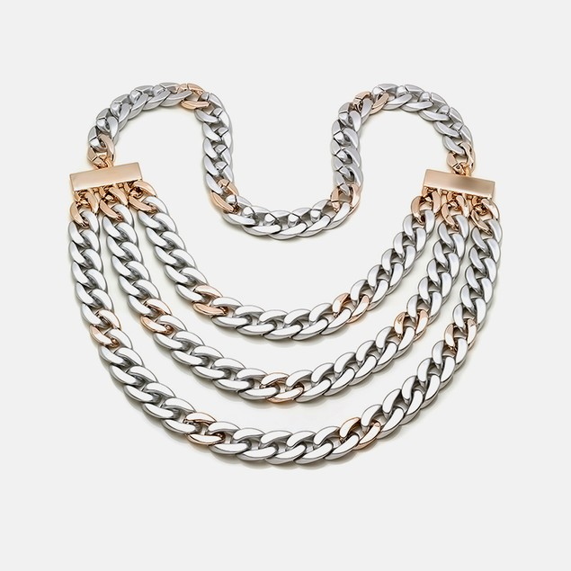 Layer Curb Necklace Chain in Metallic & Rose Gold