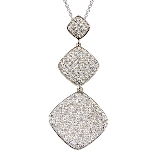 Sterling Silver Triple Tier Micro Pave Square Necklace