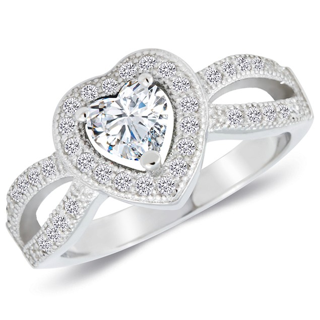 Sterling Silver Split Shank Simulated Diamond Ring
