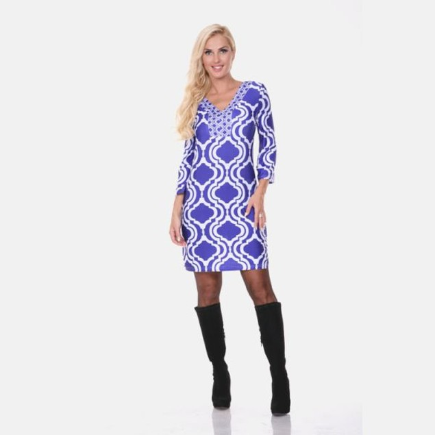 Sophia Indigo & White Print Dress