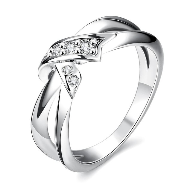White Gold Plated Bow-Tie Ring