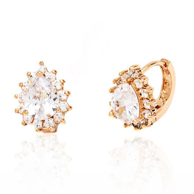 Clear Crystal Teardrop Huggie Earrings