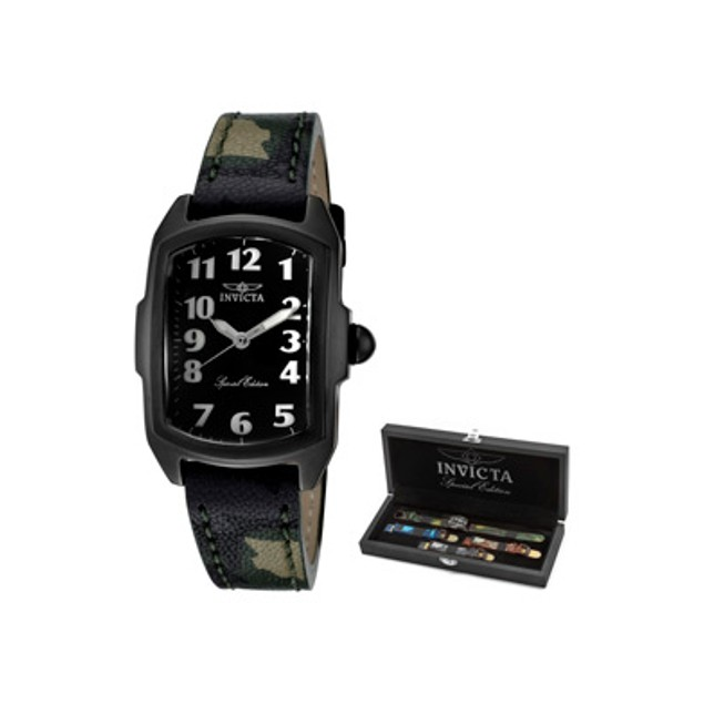 Invicta Women's Lupah Black Dial Green Camouflage Genuine Leather