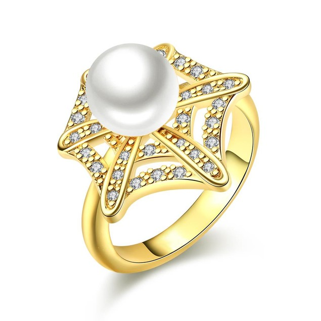 Gold Plated Pearl Infusion Ring