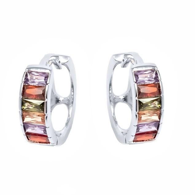Silver & Multi Crystal Huggies