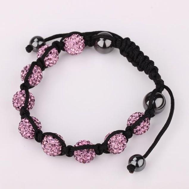 80's Glam Eight Beads Austrian Crystal Bracelet - Dark Coral