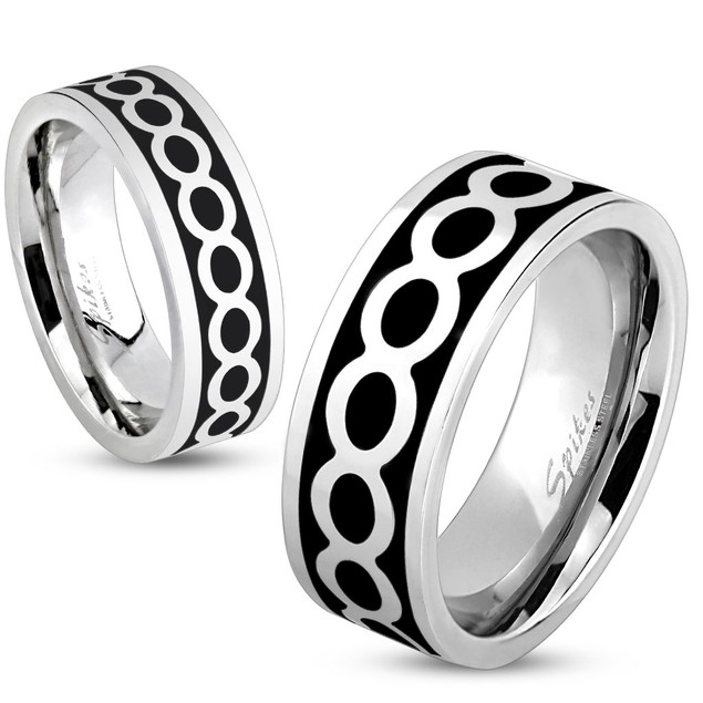 Shiny Infinite on Black Center Stainless Steel Ring