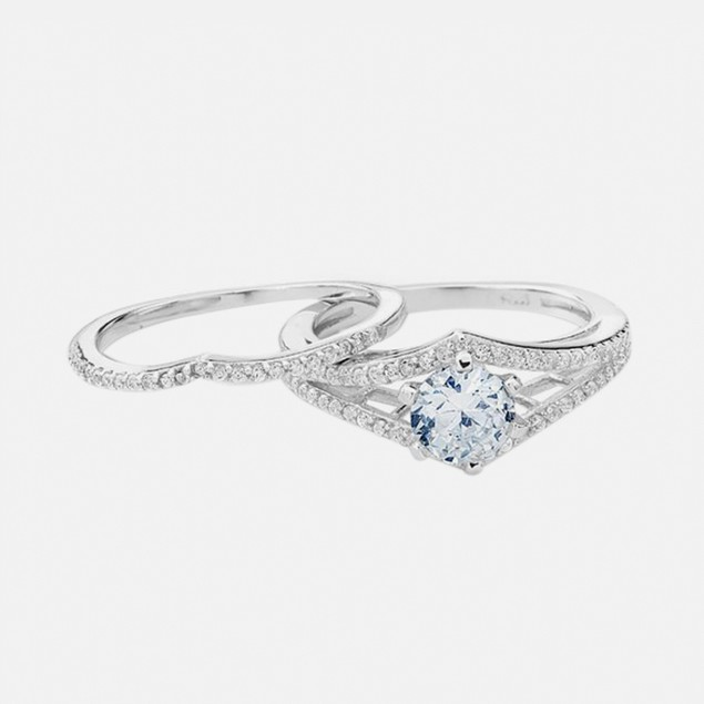 Sterling Silver 1.5 Carat Simulated Diamond - Catrina Engagement Ring Set