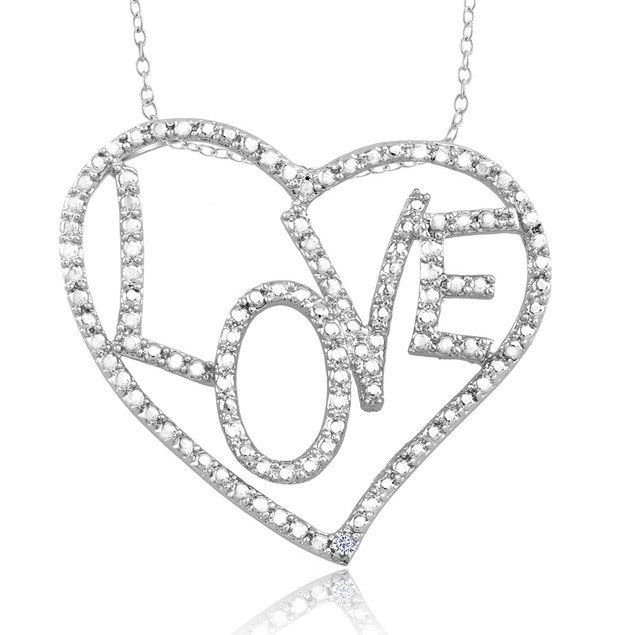.10 Ct Diamond Accent Heart Necklace - Large Love