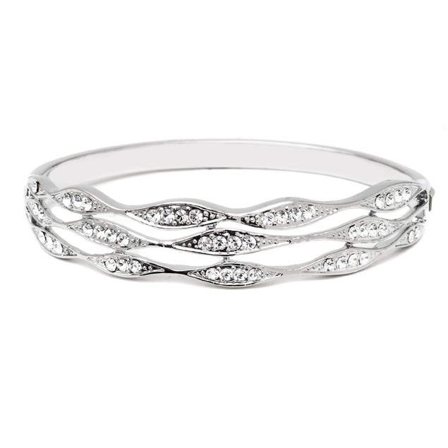 Silver & Crystal Laced Bangle