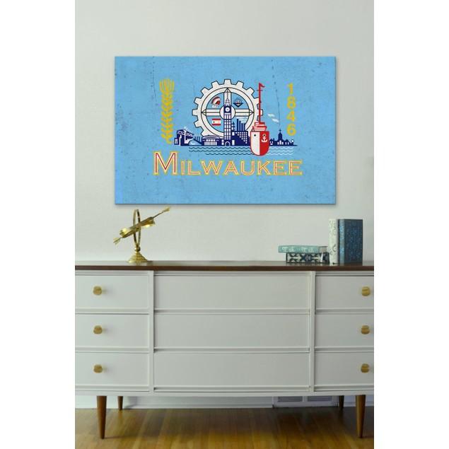 Milwaukee Flag, Grunge by D.Kade Design Collective
