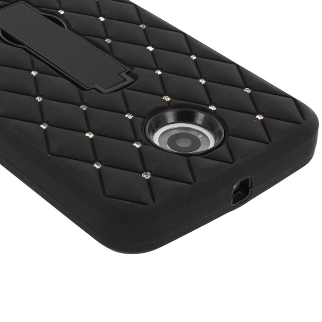 Motorola Google Nexus 6 Hybrid Diamond Bling Hard Soft Case Cover Stand