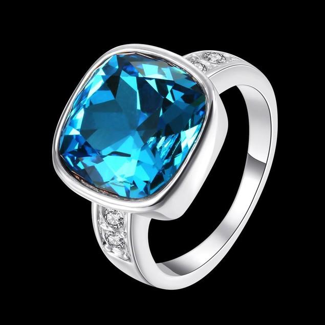 Rose Gold Plated Aqua Blue Ring