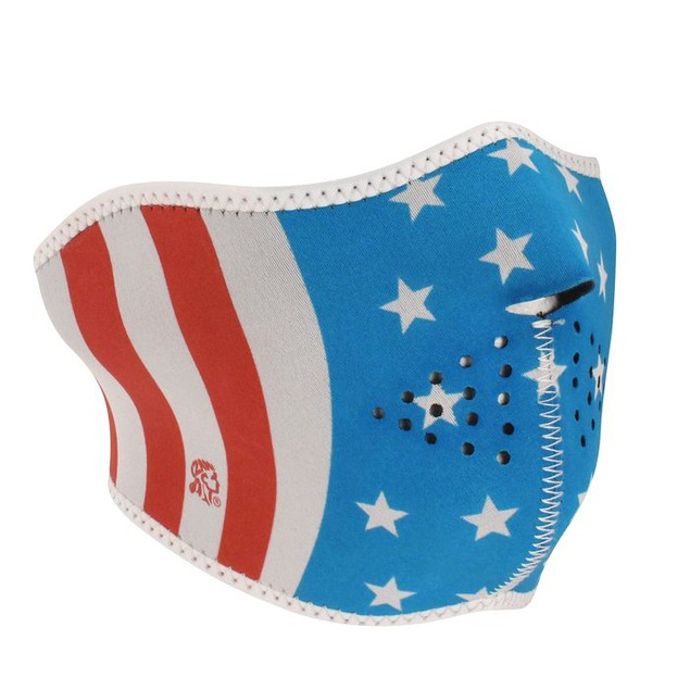 Neoprene Glow in the Dark Stars & Stripes 1/2 Mask