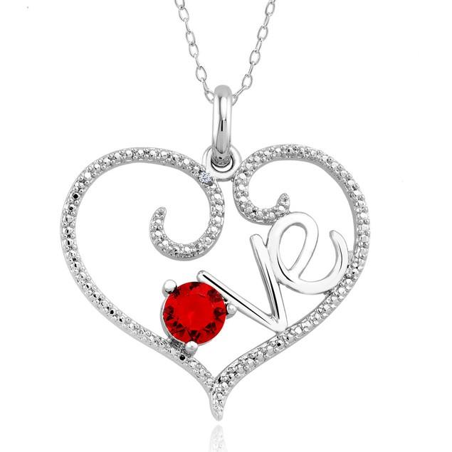 1/10 CTW Diamond Accent Necklace - Garnet Love
