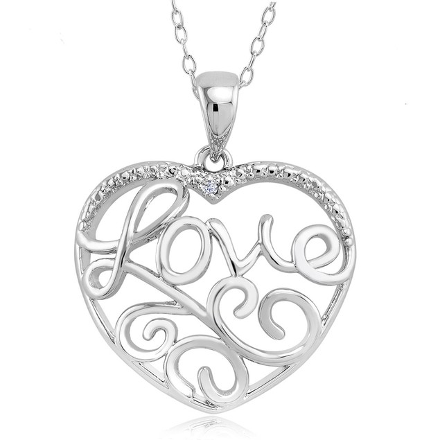 .10 Ct Diamond Accent Heart Necklace - Leaf Love