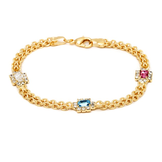 18K Gold Multi Color Crystal Bracelet