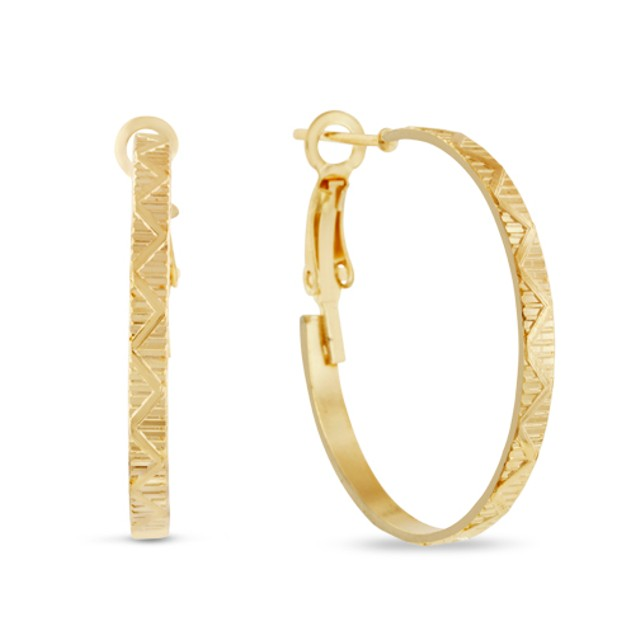 2 Pairs of 1 inch Gold Plated Hoop Earrings