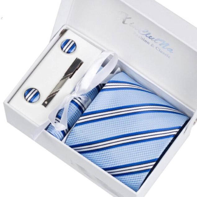Men's Dress Suit Tie Set - Light Blue Stripe
