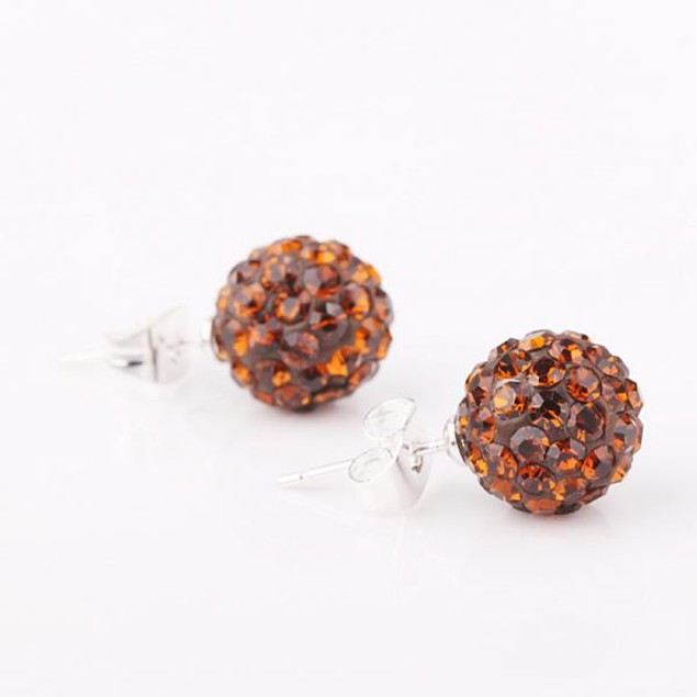 Vivid Light Austrian Stone Orange Citrine Stud Earrings