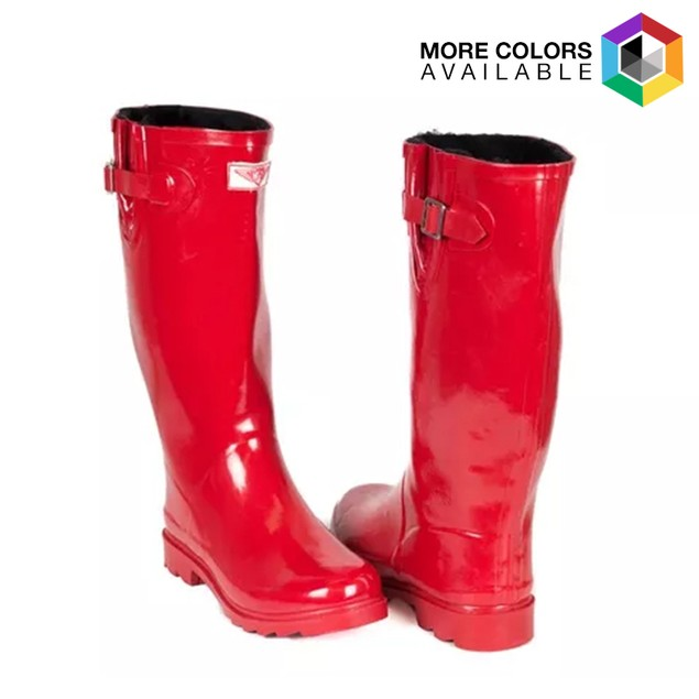 Forever Young Women's Tall Rubber Rain Boots with Faux Fur Lining and Buckle