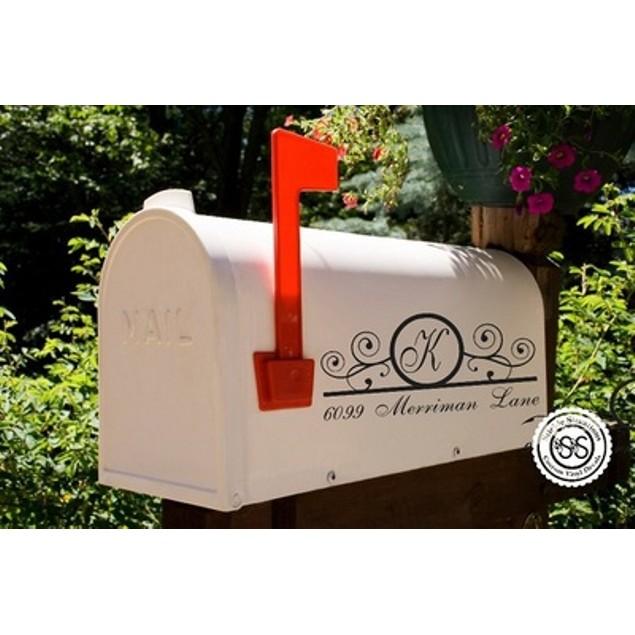 Monogram Swirly Vine Mailbox Decal