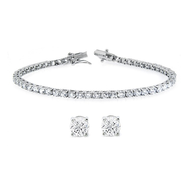 Sterling Silver Round Design Bracelet/Stud Set