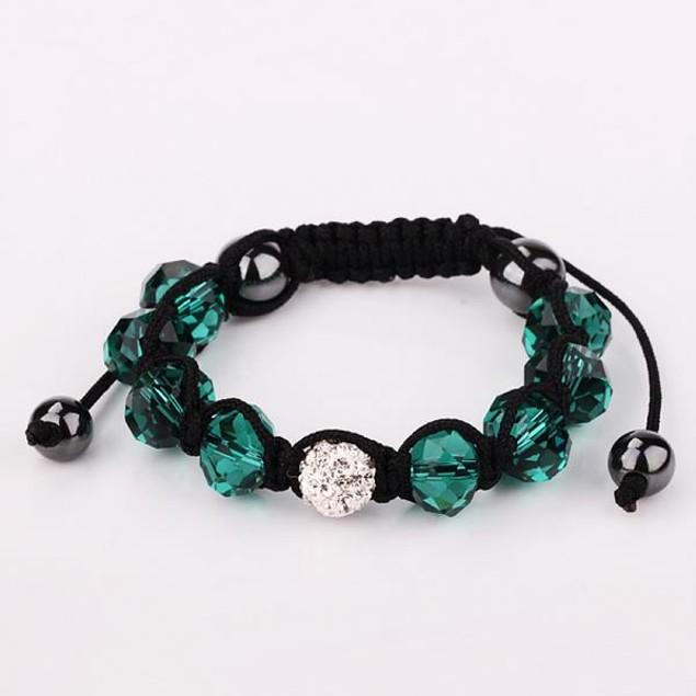 Disco Ball Austrian Crystal Strap Bracelet & Gemstone Beads -Dark Emerald
