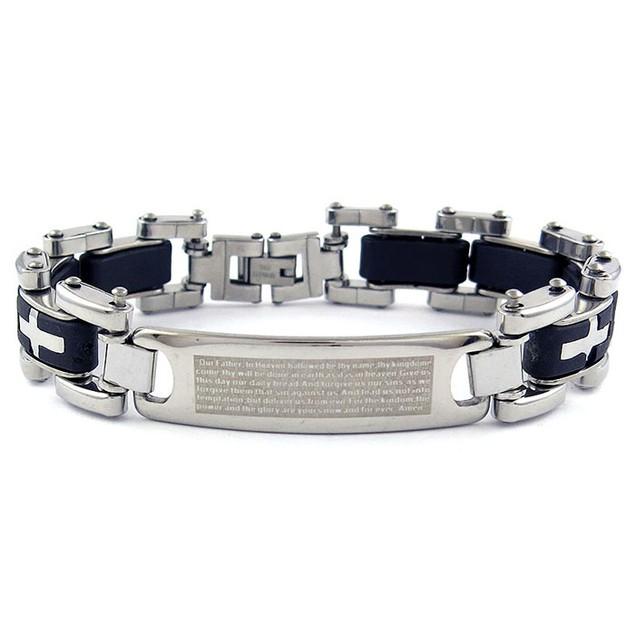 Stainless Steel Link Cross ID Prayer Bracelet