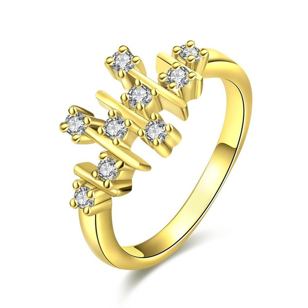 Gold Plated Horizontal Lined Ring